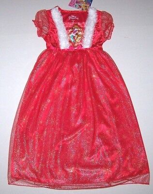 Nwt New Disney Princess Christmas Fantasy Nightgown Pajamas Costume Velvet Girl
