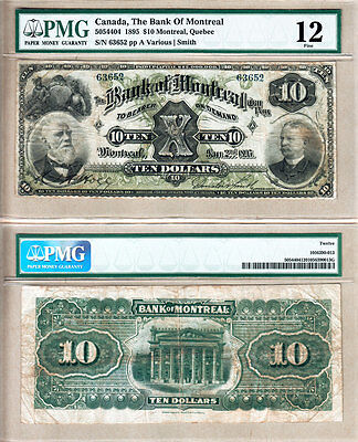 Scarce 1895  10 Bank Of Montreal Issued Note Pmg F12  505 44 04