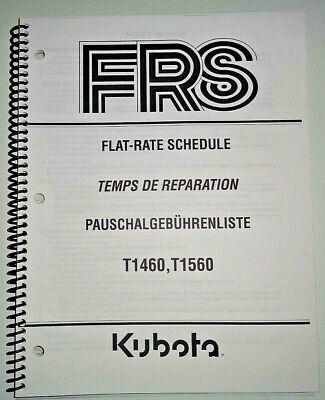 Kubota T1460 T1560 Lawn Garden Tractor Flat Rate Schedule Manual Oem 702