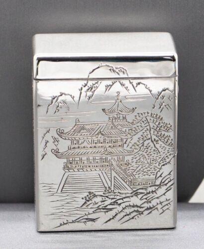 Vintage Sterling Silver Engraved Oriental Scene Cigarette Box
