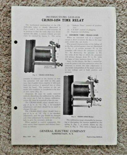 """1926 GENERAL ELECTRIC COMPANY """"TIME RELAY CR2820-1054"""" ELECTRICAL ENGINEERING"""
