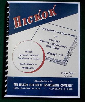 Hickok 532 Instruction Manual Tube Charts