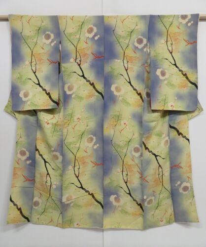 1014i07z870 Vintage Japanese Kimono Silk KOMON Cream-Yellow Plum branch