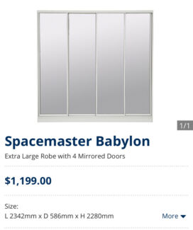 4-door Mirrored Wardrobe | Looks like a built in | Priced to sell!
