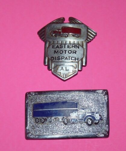 Vintage 1940s Eastern Motor Dispatch Trucking Trucker Driver Badge & Buckle Lot