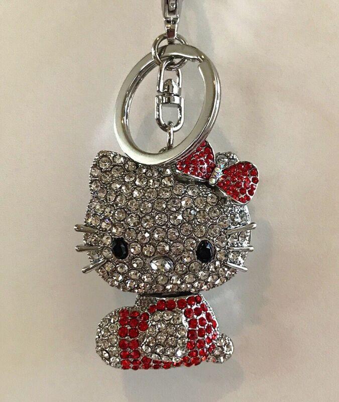 Cute Hello Kitty Key Chain Silver -Toned Diamond Charms Bling