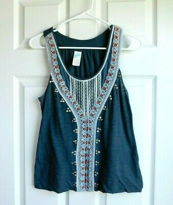 C Keer Anthropologie Green/Grey Top with Silver Embroidery Crochet Detail Small