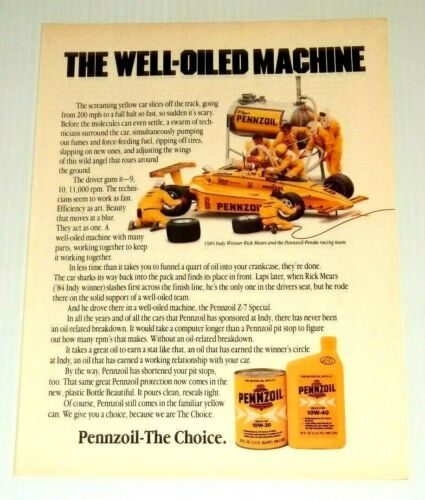 1985 Print Ad Pennzoil Oil Z-7 Special Rick Mears Indy Vintage Advertisement
