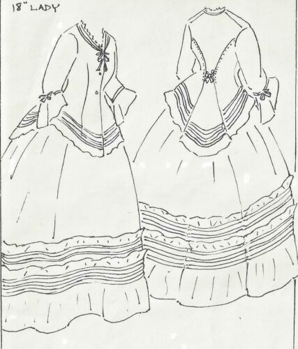 "18""ANTIQUE FRENCH FASHION LADY DOLL AFTERNOON JACKET DRESS UNDERWEAR PATTERN"