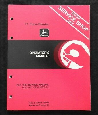 Original John Deere 71 Flexi Planter Operators Manual Very Nice Shape