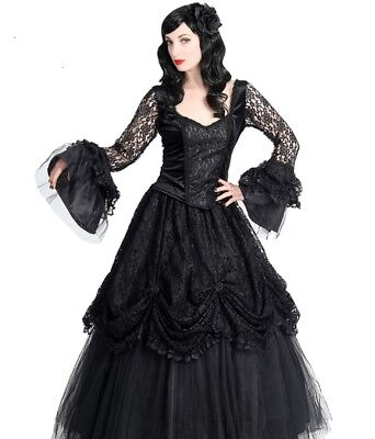 Sinister Gothic Plus Size Black Satin Tulle & Lace Long Renaissance Skirt (Plus Size Black Tulle Skirt)