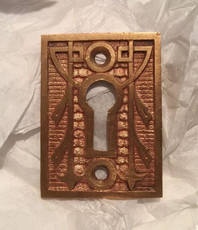 1 Large Eastlake Fancy Brass Keyhole Door Escutcheons- 1890s