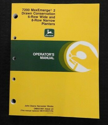 John Deere 7200 6-row Wide 8-row Narrow Drawn Conserv Planter Operators Manual