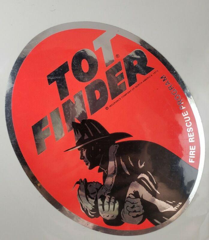 Vintage 1972 TOT FINDER Fire Rescue Program Window Decal Sticker NICE