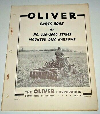 Oliver 330-2000 Mounted Disc Harrow Parts Catalog Manual Book Original Disk