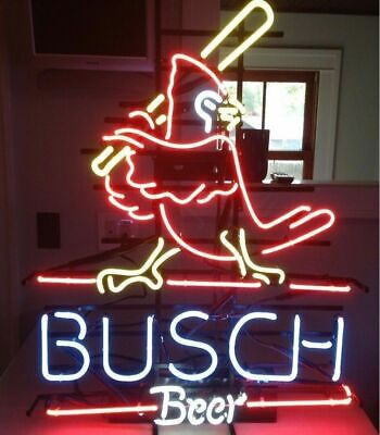 New Busch Beer St. Louis Cardinals Real Neon Sign Pub Beer Bar Light FAST SHIP Neon Signs St Louis