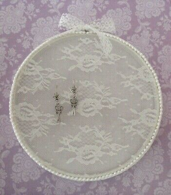 Embroidery Hoop Jewelry Earring Display Shabby Chic White Lace Bead Trim 8