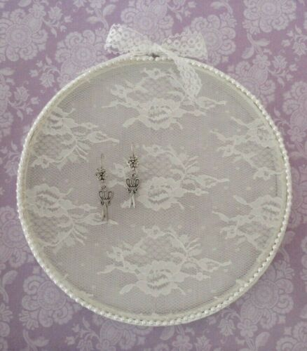 """Embroidery Hoop Jewelry Earring Display ~ Shabby Chic White Lace & Bead Trim 8"""""""
