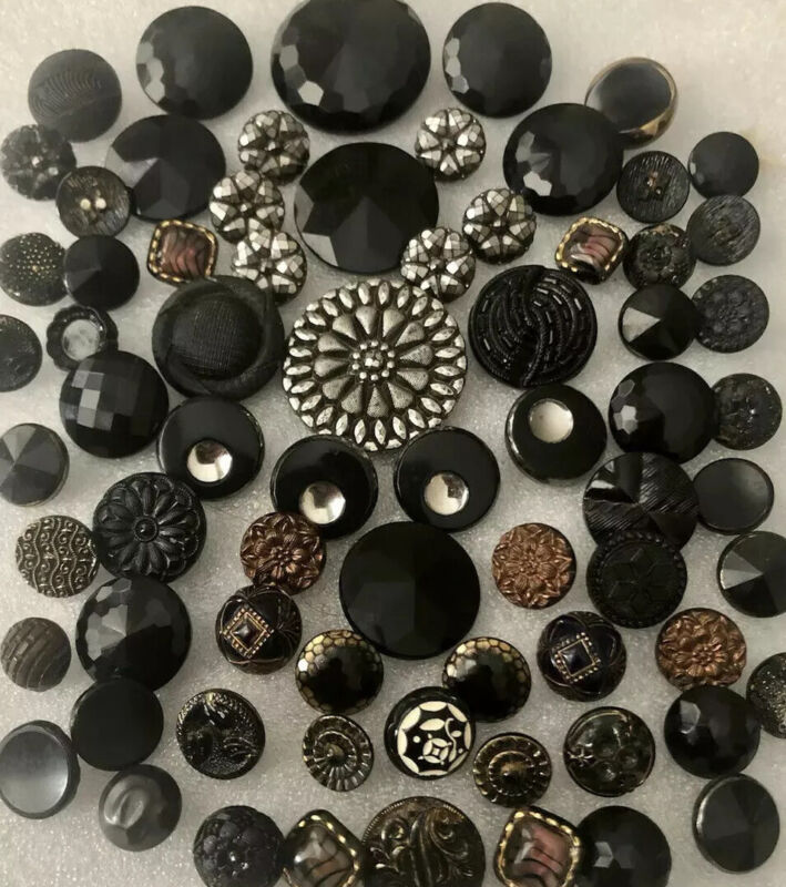 Large Lot Antique Black Glass Buttons Victorian Mourning Silver Gold