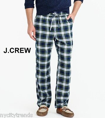 J.CREW pajama pants L flannel navy blue green white fleece nr check plaid lounge ()