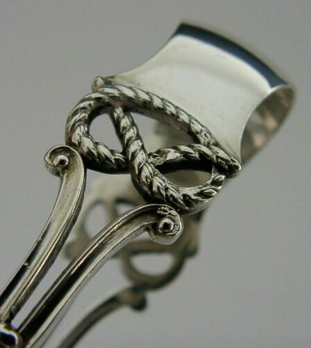 STAFFORDSHIRE KNOT ANTIQUE  SOLID STERLING SILVER SUGAR TONGS 1900 VICTORIAN