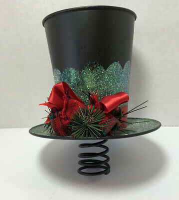 Christmas Tree Topper Snowman Top Hat Holiday Ornament Decoration Teal Black Red