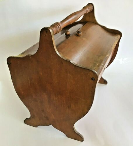Vintage Wood Sewing Basket Box Primitive Footed Double Lid Holds Sewing Supplies