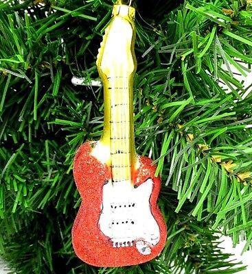 Guitar Christmas Ornament Glass 4.5
