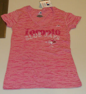 2013-Toronto-Blue-Jays-Baseball-L-Ladies-V-Neck-Majestic-Womens-T-Shirt-Pink