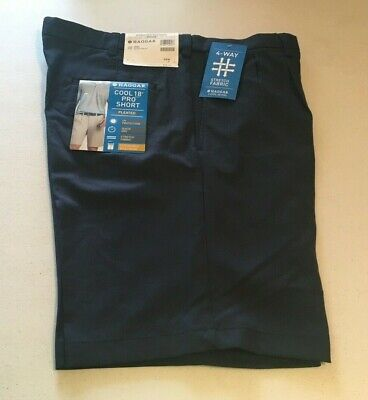 HAGGAR Men's COOL 18 PRO SHORT  Pleated Front  Expandable Waist  Navy  NWT
