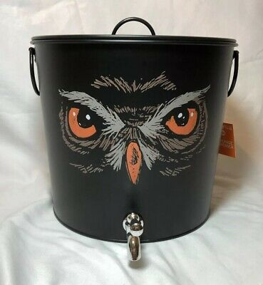 Halloween Beverage Dispenser (Owl Black Steel Beverage Dispenser Ice Drink Bucket Halloween 250 oz Party)