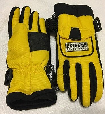 Thinsulate Boys/Girls Extra Small (6/7) Yellow and Black Ski/Snow Gloves 40 Gram