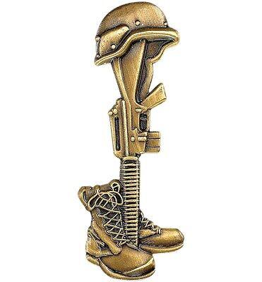 Fallen Soldier Bronze Pin - Military Veteran Biker VFW Jacket Vest Hat Pin - New