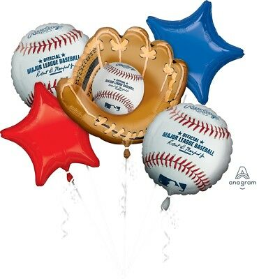 Major League Baseball Balloon Bouquet Set Party Decoration 5 Count Balloons