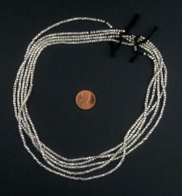 Tiny Diamond Cut Faceted Silver Beads 2mm White Metal 24 Inch Strand