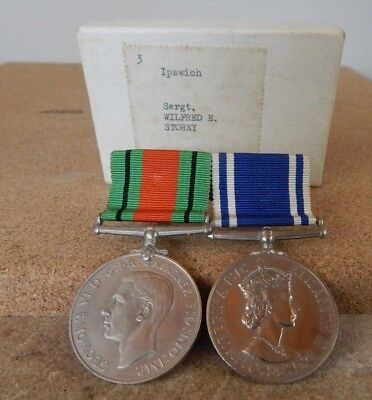 WW2 Defence & Police Long Service & Good Conduct Medal pair Sergeant W.E Storey