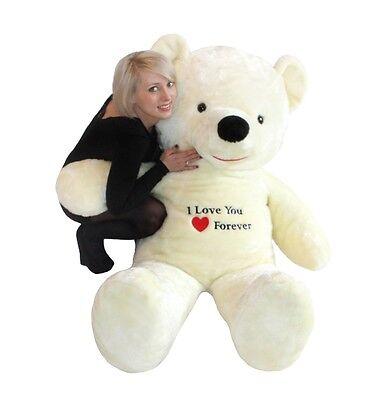 Riesen Teddybär Plüschtier Stofftier mit Stickerei weiß 170cm groß