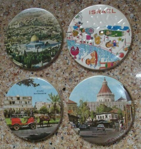 """4 RARE 1959 Vinyl Israel Souvenir Drink Coasters Kibbutz Moshav 3 1/2"""" (9 cm)Dia"""