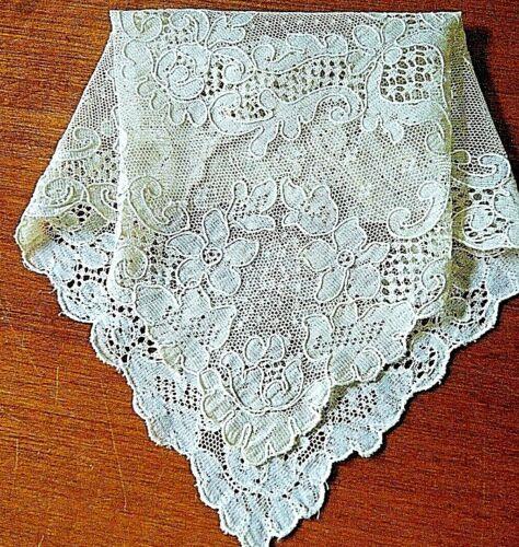 """Antique doily ,hanky , French Alencon lace square design.11"""" x11""""  #2"""