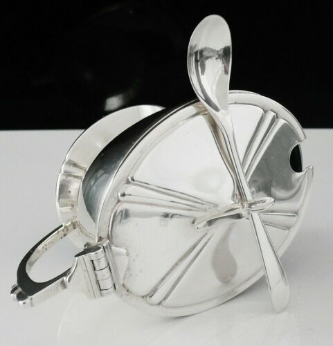 Attractive Sterling Silver Mustard Pot with Spoon & Liner, Birmingham 1966