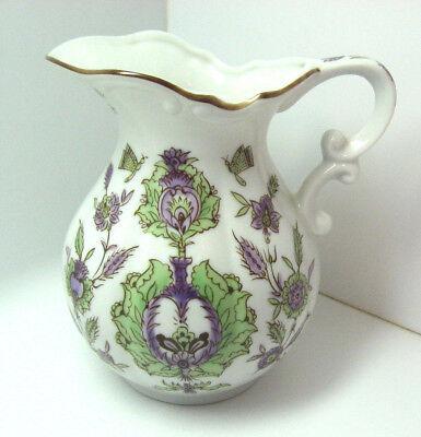 Porcelain Pitcher Floral Butterflies Green Lavendar