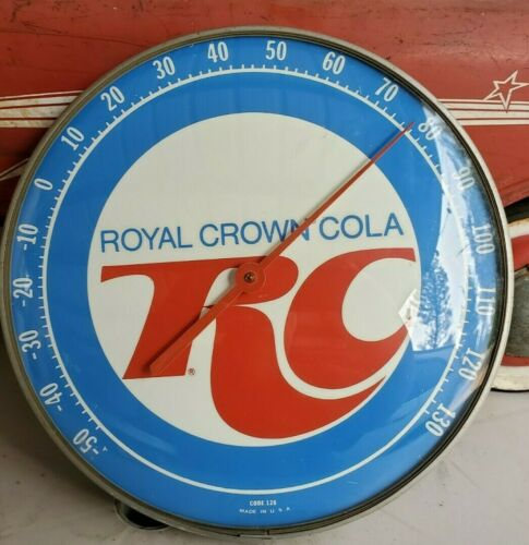 Vintage ROYAL CROWN RC COLA Round Advertising Thermometer Sign Gas Station soda