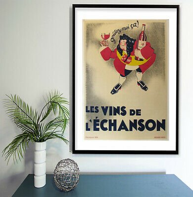 """Vintage print poster for glass frame 36"""" x 24"""" art French Red Wine Advert"""