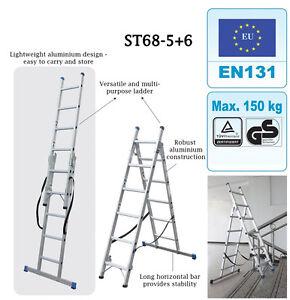 Combination Step Ladder  3 Way   Aluminium Step Ladders   Stair Case    EN 131