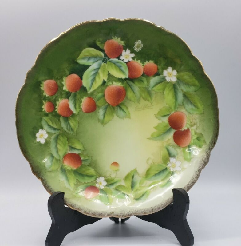 """BAVARIA Marked 9"""" Hand Painted Strawberry Cabinet Plate Signed Curt Olivier"""