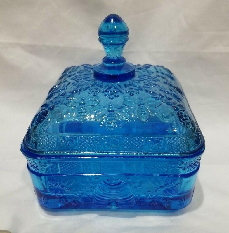Vintage Tiara Indiana Glass Honey Bee Hive Regal Blue Box Candy Dish Rare