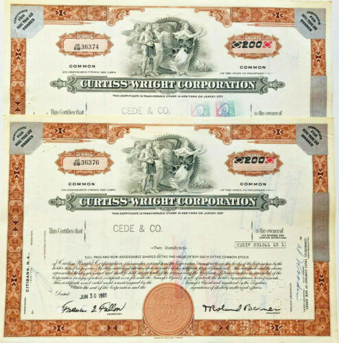 Curtiss-Wright Corporation > airplane aviation set of 2 brown stock certificates