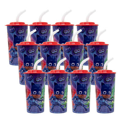 12PC PJ MASKS 16OZ PP SPORT TUMBLER W/LID AND STRAW PARTY FAVOR SUPPLIES
