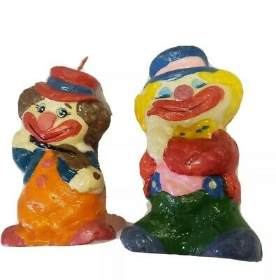 """Vintage Carved Sculpted Wax Candle Clown Figures 7"""" Cute Spooky Halloween qty 2"""