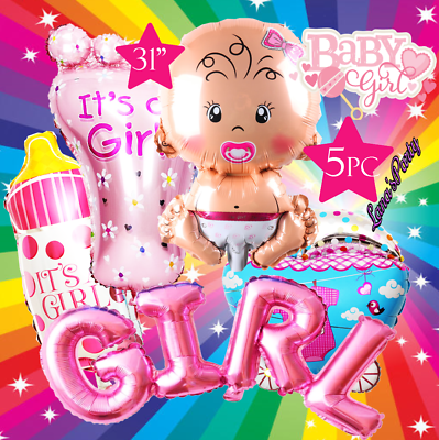 5PC ITS A GIRL BABY SHOWER BIRTHDAY PARTY SUPPLY BALLOON BAL